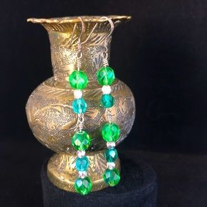 Green Faceted Glass Dangle Earrings